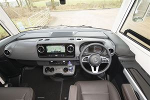 In the cab of the Rapido M96 motorhome