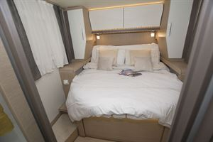 The double bed in the Rapido M96 motorhome