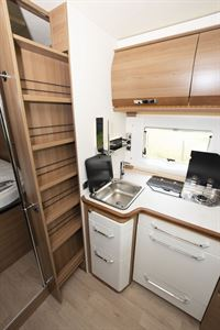 The kitchen in the Rapido 656F motorhome