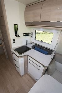 The kitchen in the 8086dF motorhome