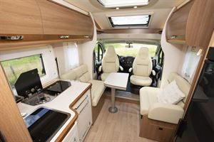 The kitchen and lounge in the Rapido 656F motorhome