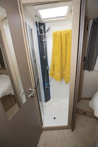 The shower in the Rapido M96 motorhome