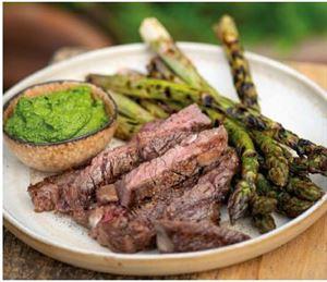 Chargrilled rib-eye and asparagus with basil pesto