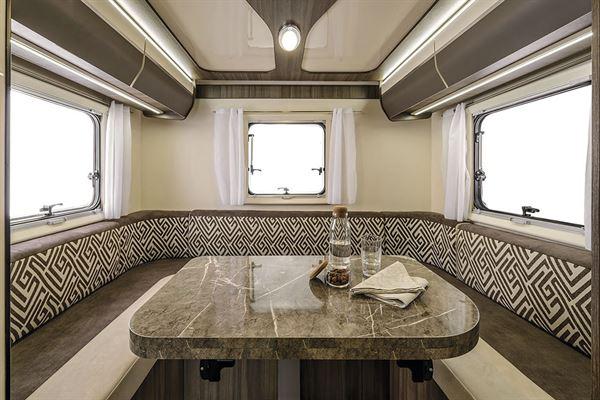 The u-shaped lounge in the Rimor Evo 77 Plus motorhome