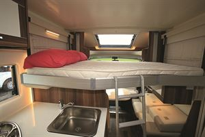 Even with the drop-down bed, the front dinette is well lit