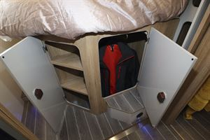 Storage under the double bed in the Roller Team T-Line 743 motorhome