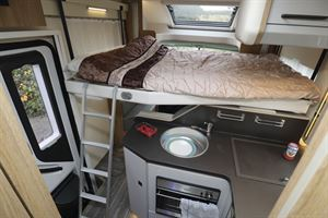 The drop-down bed in the Roller Team T-Line 743 motorhome