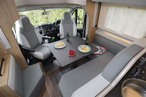 A view of the interior in the Roller Team T-Line 743 motorhome