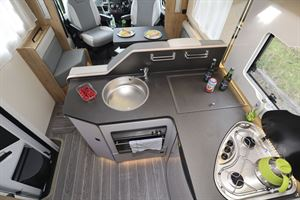 The kitchen in the Roller Team T-Line 743 motorhome