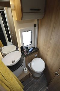 The toilet in the Roller Team T-Line 743 motorhome