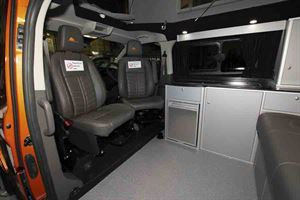 Cab seats turn to face the living area