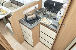 The kitchen in the Itineo SB700 motorhome