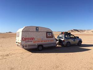 The Sprite caravan takes to the sea level salt plains