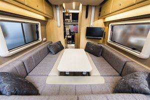 The rear lounge in the Vantage Sky campervan