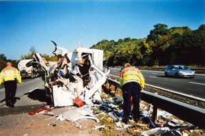 Smashed caravan