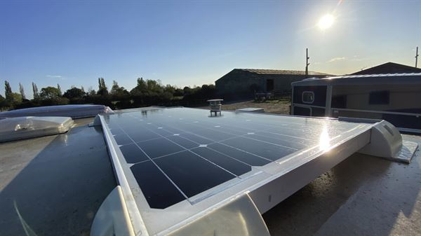 A solar panel fitted on a caravan