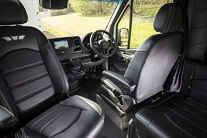 The cab, with leather upholstery