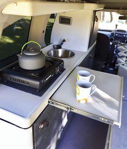 The kitchen in the Stimson Free Spirit campervan