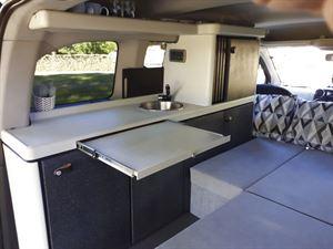 Extra worktop space in the Stimson Free Spirit campervan