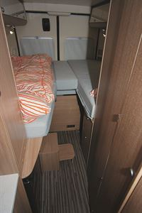 The bedroom comes with ample storage