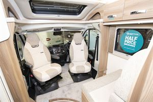 Cab seats facing the lounge in the Swift Escape Compact C502 motorhome