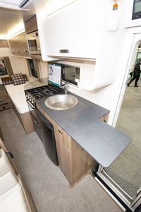 The kitchen in the Swift Escape Compact C502 motorhome