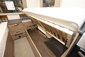 Under bed storage in the Swift Escape Compact C502 motorhome