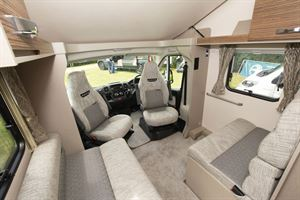 The lounge and cab area in the Swift Edge 494 motorhome