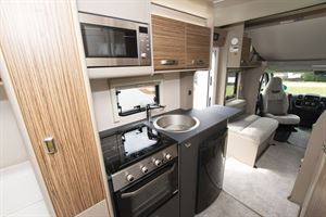 The kitchen in the Swift Edge 494 motorhome