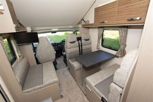 The lounge in the Swift Edge 476 Black Edition motorhome