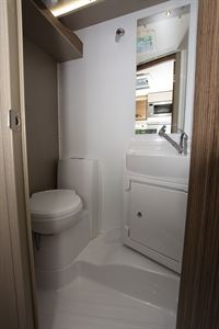 The washroom in the Swift Edge 476 Black Edition motorhome