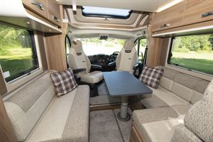 A view of the lounge and cab in the Swift Escape 604