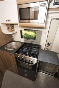 The kitchen in the Swift Escape 604