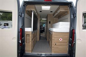 The Swift Select 174 campervan with the rear doors open