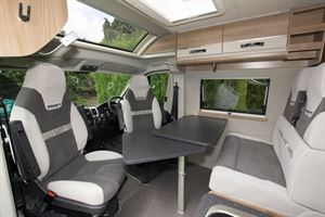 The lounge in the Swift Select 174 campervan