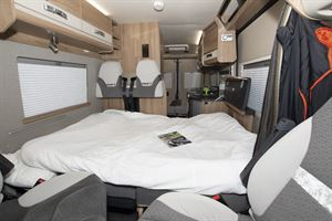 The folded down bed in the Swift Select 184 motorhome