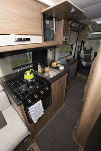 The kitchen in the Swift Select 184 motorhome