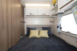 The bedroom in the Swift Siena Super FB caravan
