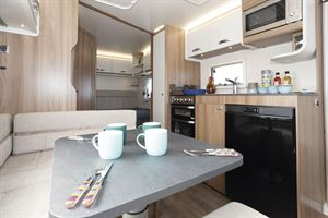 The dining space in the Swift Siena Super FB caravan