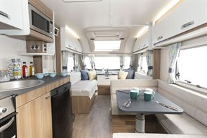 A view of the interior of the Swift Siena Super FB caravan