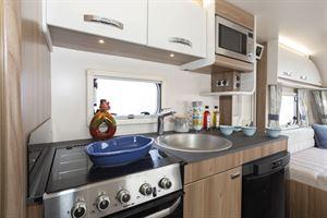 The kitchen in the Swift Siena Super FB caravan