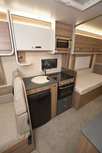The kitchen in the Swift Champagne 675 motorhome