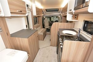 The view from rear to front in the Swift Champagne 675 motorhome