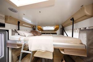 The drop down bed in the Benimar Tessoro 487 motorhome