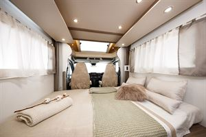 The front lounge bed in the Benimar Tessoro 487 motorhome