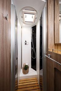 The shower in the Benimar Tessoro 487 motorhome