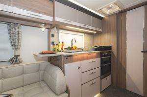 The kitchen in the Coachman VIP 460 caravan