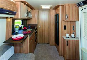 The 650 is a caravan of two rooms; the door leads to the shower room and bedroom