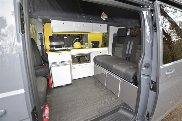 With sliding door open in The Camper Factory VW T6.1 campervan