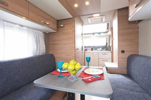 The kitchen is located at the front of the Weinsberg CaraOne 390 PUH caravan